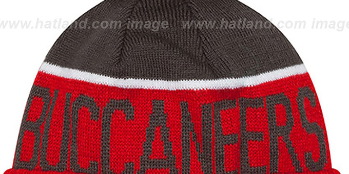 Buccaneers '2015 STADIUM' Red-Grey Knit Beanie Hat by New Era