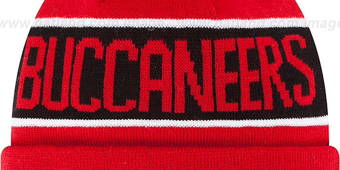 Buccaneers 'THE-COACH' Red Knit Beanie Hat by New Era