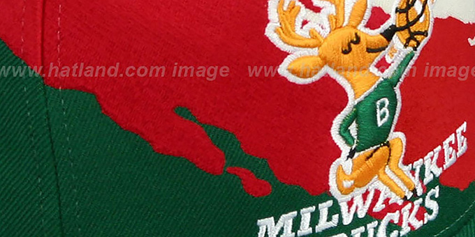 Bucks 'PAINTBRUSH SNAPBACK' White-Red-Green Hat by Mitchell & Ness