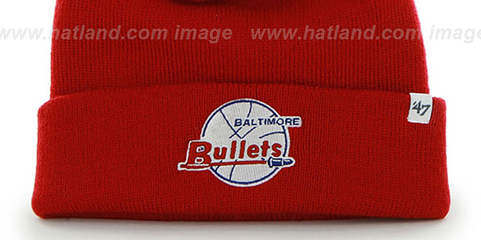 Bullets 'POMPOM CUFF' Red Knit Beanie Hat by Twins 47 Brand