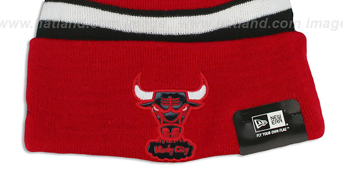Bulls 'BIG-SCREEN' Red-Black Knit Beanie Hat by New Era