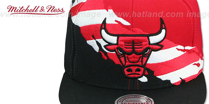 Bulls 'BRUSHED FLAG SNAPBACK' Red-Black Hat by Mitchell and Ness