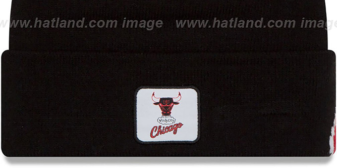 Bulls 'COLOSSAL-TEAM' Black Knit Beanie Hat by New Era