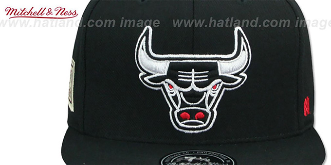 Bulls 'HWC SIDE-PATCH' Black Fitted Hat by Mitchell and Ness