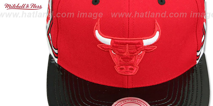 Bulls 'KAT PATENT VIZA SNAPBACK' Red-Black Hat by Mitchell and Ness