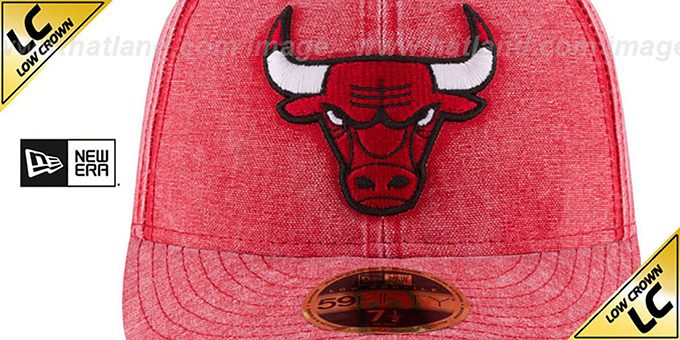 Bulls 'LOW-CROWN FADED' Red Fitted Hat by New Era