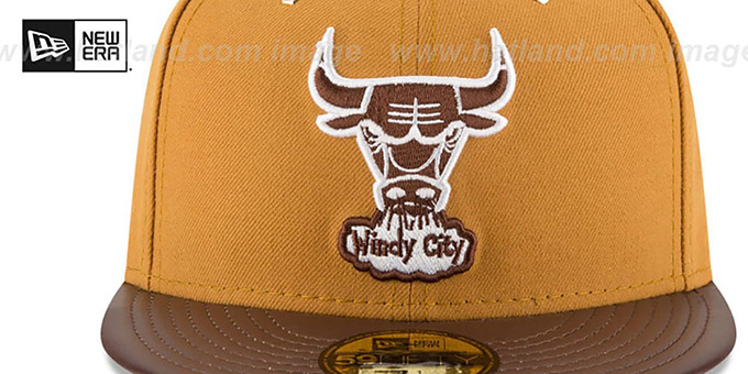 5b3dfc94e92 Chicago Bulls METAL HOOK Wheat-Brown Fitted Hat by New Era