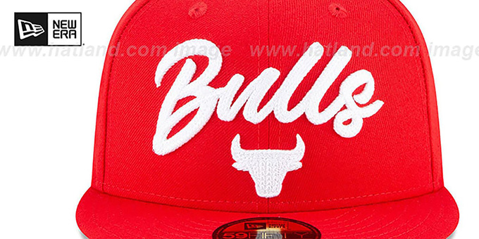 Bulls 'ROPE STITCH DRAFT' Red Fitted Hat by New Era