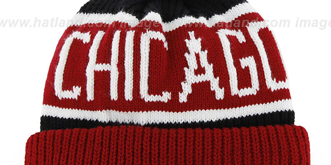 Bulls 'THE-CALGARY 2' Red-Black Knit Beanie Hat by Twins 47 Brand