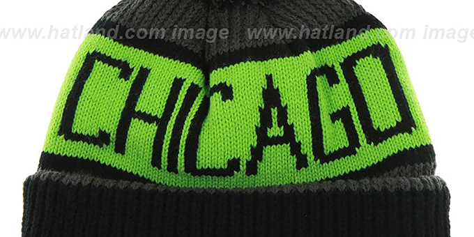 Bulls 'THE-CALGARY' Black-Charcoal-Lime Knit Beanie Hat by Twins 47 Brand