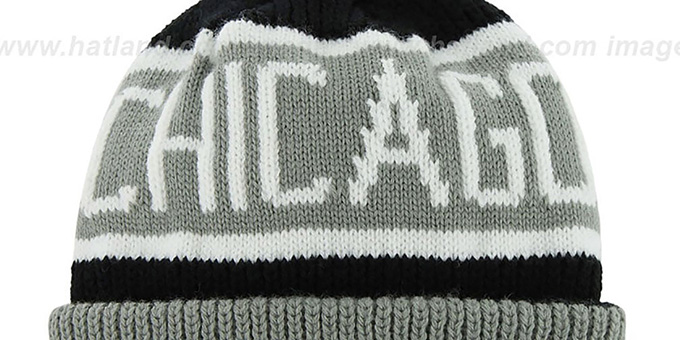 Bulls 'THE-CALGARY' Grey-Black Knit Beanie Hat by Twins 47 Brand
