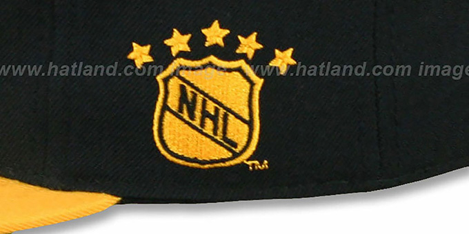 Canucks '2T XL-LOGO' Black-Gold Fitted Hat by Mitchell & Ness