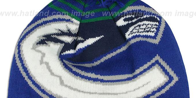 ... Canucks  LOGO WHIZ  Royal-Green Knit Beanie Hat by New Era 13579e340684