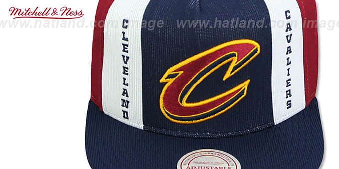 Cavaliers 'AJD SNAPBACK' Navy-White-Burgundy Adjustable Hat by Mitchell and Ness
