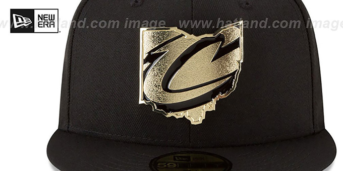 Cavaliers 'GOLD STATED METAL-BADGE' Black Fitted Hat by New Era