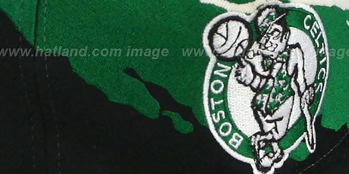 Celtics 'PAINTBRUSH SNAPBACK' White-Green-Black Hat by Mitchell & Ness