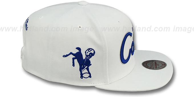 Colts 'TEAM-SCRIPT SNAPBACK' White Hat by Mitchell and Ness