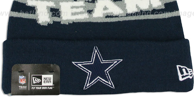 Cowboys 'AMERICAS TEAM' Navy Knit Beanie Hat by New Era