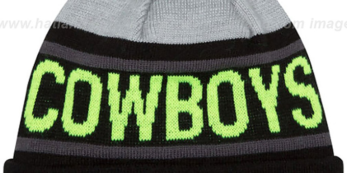 Cowboys 'BIGGEST FAN' Black-Lime Knit Beanie Hat by New Era
