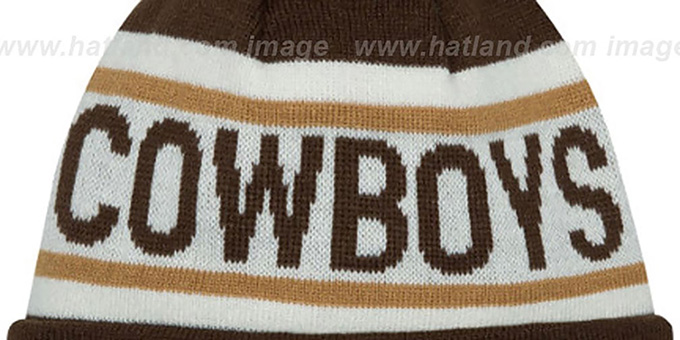 Cowboys 'BIGGEST FAN' Brown-Wheat Knit Beanie Hat by New Era