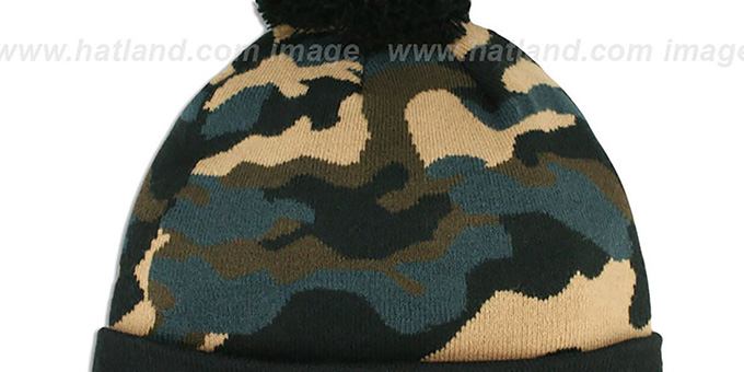 Cowboys 'CAMO-TOP' Black-Army Camo Knit Beanie Hat by New Era