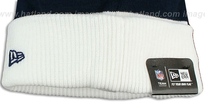 Cowboys 'CUFF-SCRIPTER' White-Navy-Grey Knit Beanie Hat by New Era