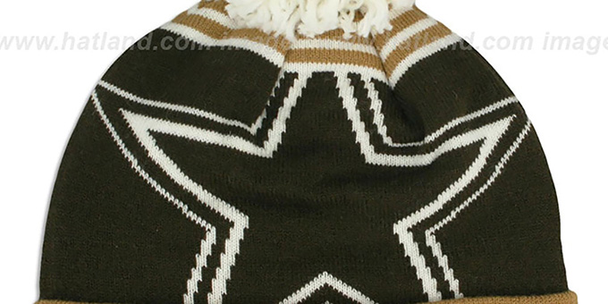 Cowboys 'LOGO WHIZ' Brown-Wheat Knit Beanie Hat by New Era
