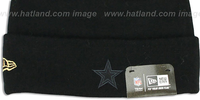 Cowboys 'METALLIC FILLZ' Black-Gold Knit Beanie Hat by New Era