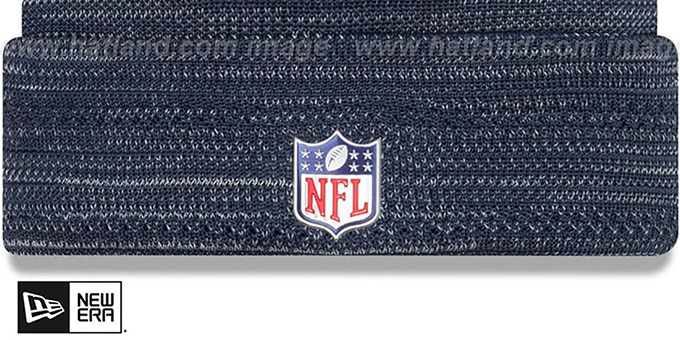 Cowboys 'TOUCHDOWN' Navy-Grey Knit Beanie Hat by New Era
