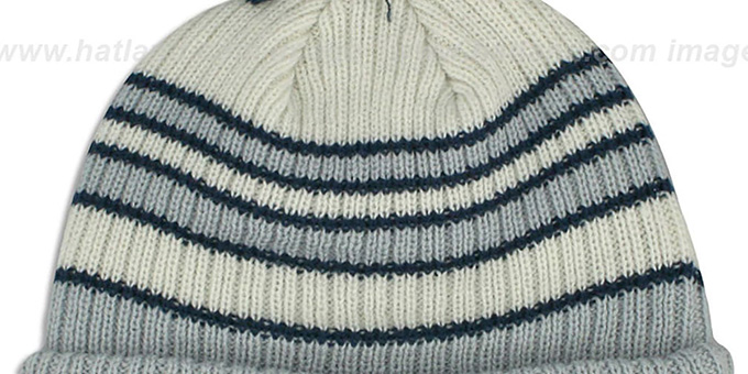 Cowboys 'TRADITIONAL STRIPED' White-Grey Knit Beanie Hat by New Era