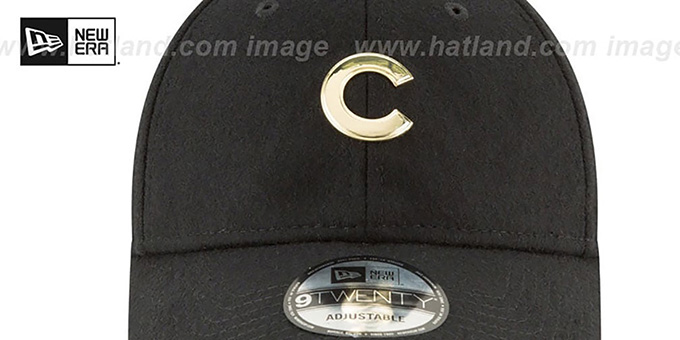 Cubs 'MINI GOLD METAL-BADGE STRAPBACK' Black Hat by New Era