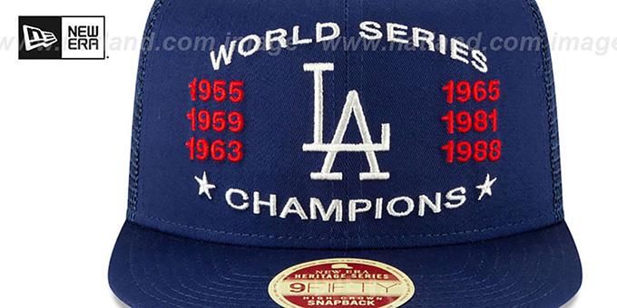 watch f9b47 54fb2 ... Dodgers  CHAMPIONS TRUCKER SNAPBACK  Royal Hat by New Era ...
