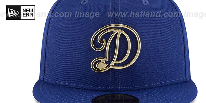 Dodgers 'GOLD FRAMED METAL-BADGE' Royal Fitted Hat by New Era