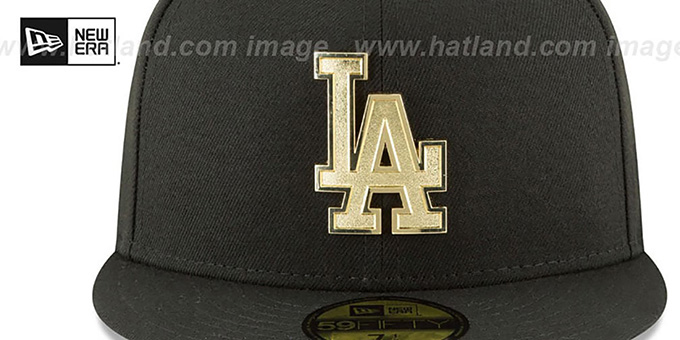 Dodgers 'GOLDEN-BADGE' Black Fitted Hat by New Era