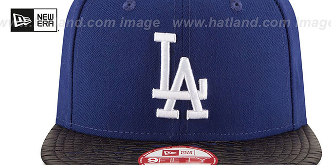Dodgers 'LEATHER-RIP SNAPBACK' Royal-Black Hat by New Era