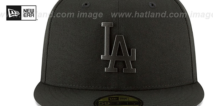Dodgers 'SLEEKED BLACK METAL-BADGE' Black Fitted Hat by New Era