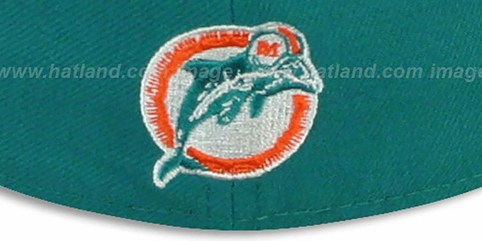 Dolphins 'NFL 2T THROWBACK TEAM-BASIC' Aqua-Orange Fitted Hat by New Era
