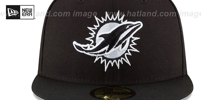 Dolphins 'NFL TEAM-BASIC' Black-White Fitted Hat by New Era