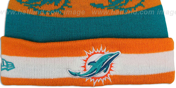 Dolphins 'REPEATER SCRIPT' Knit Beanie Hat by New Era