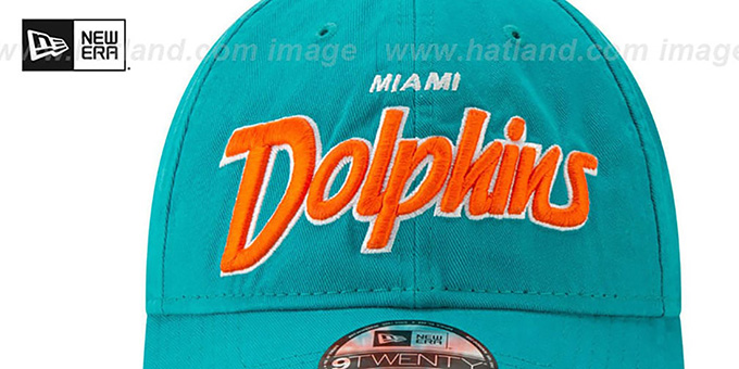 Dolphins 'RETRO-SCRIPT SNAPBACK' Aqua Hat by New Era