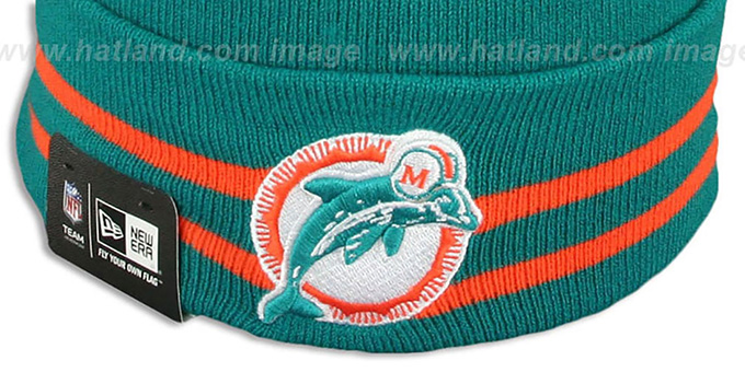 Dolphins 'SUPER BOWL VIII' Aqua Knit Beanie Hat by New Era