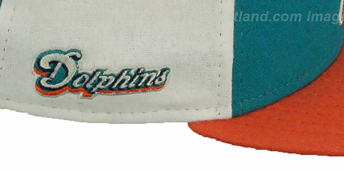 Dolphins 'TRIPLE MELTON STRAPBACK' Aqua-White-Orange Hat by New Era