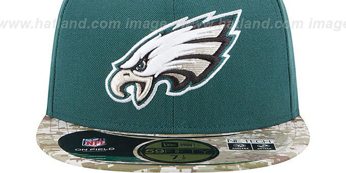 Eagles '2014 SALUTE-TO-SERVICE' Green-Desert Fitted Hat by New Era