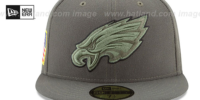 Eagles '2017 SALUTE-TO-SERVICE' Green Fitted Hat by New Era