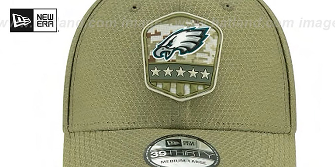 Eagles '2019 SALUTE-TO-SERVICE FLEX' Olive Hat by New Era