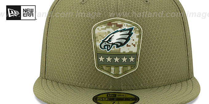 Eagles '2019 SALUTE-TO-SERVICE' Olive Fitted Hat by New Era