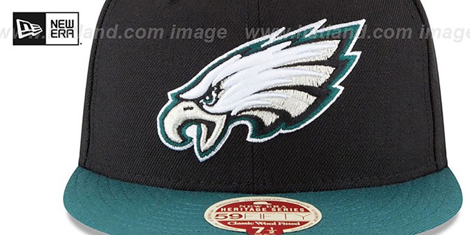 Eagles 'NFL WOOL-STANDARD' Black-Green Fitted Hat by New Era