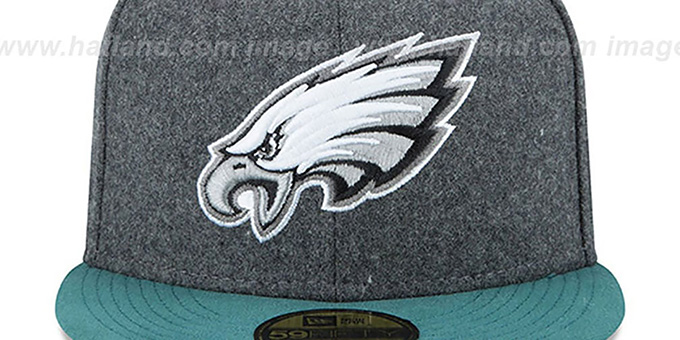 Eagles 'SHADER MELTON' Grey-Green Fitted Hat by New Era