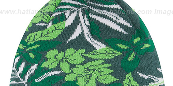 64dd8f5783b ... Eagles  SNOW-TROPICS  Green Knit Beanie Hat by New Era