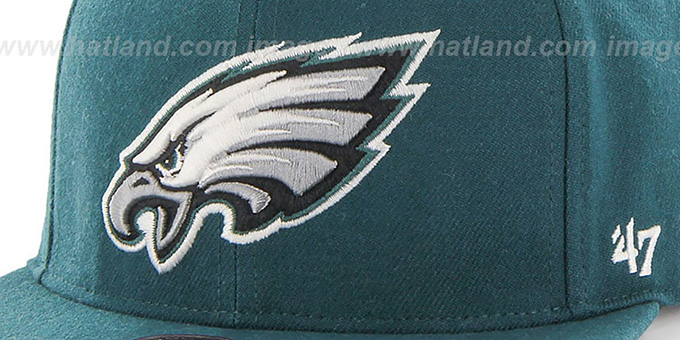 Eagles 'SUPER-SHOT STRAPBACK' Green Hat by Twins 47 Brand